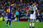 12th September 2017, Camp Nou, Barcelona, Spain; UEFA Champions League Group stage, FC Barcelona versus Juventus; Leo Messi of FC Barcelona and Paulo Dybala of Juventus during a free kick