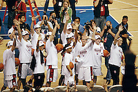 5 March 2007: Jayne Appel, Jillian Harmon, Morgan Clyburn, Brooke Smith, Melanie Murphy, Christy Titchenal, Michelle Harrison, Candice Wiggins, Clare Bodensteiner, Markisha Coleman, Rosalyn Gold-Onwude, J.J. Hones, Kristen Newlin and Cissy Pierce celebrate during Stanford's 62-55 win over ASU in the finals of the women's Pac-10 tournament championship at HP Pavilion in San Jose, CA.