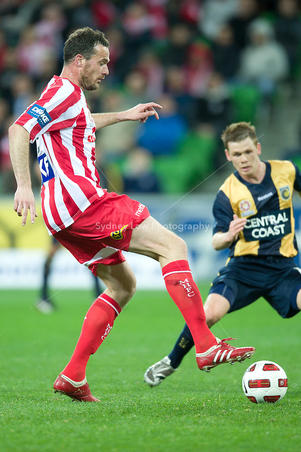 MELBOURNE, AUSTRALIA - AUGUST 5, 2010: Gerald Sibon from the Heart controls the ball in Round 1 of the 2010 A-League between the Melbourne Heart and Central Coast Mariners at AAMI Park on August 5, 2010 in Melbourne, Australia. (Photo by Sydney Low / www.syd-low.com)
