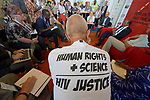 The back of a t-shirt worn by a participant in a July 24 discussion at the 2018 International AIDS Conference in Amsterdam, Netherlands. Sponsored by the World Council of Churches-Ecumenical Advocacy Alliance, the discussion took place in the Interfaith Networking Zone in the conference's Global Village.