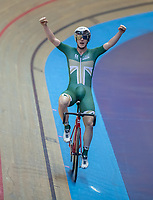 25th January 2020; National Cycling Centre, Manchester, Lancashire, England; HSBC British Cycling Track Championships;  Rhys Britton celebrates after winning the Men's points race