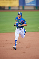 Donovan Casey (43) of the Ogden Raptors rounds the bases after hitting a home run against the Billings Mustangs at Lindquist Field on August 13, 2017 in Ogden, Utah. The Raptors defeated the Mustangs 6-5.  (Stephen Smith/Four Seam Images)