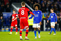 4th January 2020; King Power Stadium, Leicester, Midlands, England; English FA Cup Football, Leicester City versus Wigan Athletic; Hamza Choudhury of Leicester City commiserates with Lee Evans of Wigan Athletic after the final whistle - Strictly Editorial Use Only. No use with unauthorized audio, video, data, fixture lists, club/league logos or 'live' services. Online in-match use limited to 120 images, no video emulation. No use in betting, games or single club/league/player publications