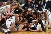 Baldwin teammates celebrate after their 56-31 win over Central Islip in the Class AA varsity girls basketball Long Island Championship at SUNY Old Westbury on Saturday, March 11, 2017.
