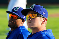 Austin Cowen (15) and Zach Babitt (3) of the Ogden Raptors prior to the game against the of the Great Falls Voyagers at Lindquist Field on August 13, 2013 in Ogden Utah. (Stephen Smith/Four Seam Images)