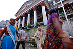 12/1/2006--Kolkata (Calcutta), India..One of the many Mullick houses, this one on P.K. Tagore Street. the Mullicks were one of the most successful families in Kolkata and built some of the largest homes with baroque and neo-classical influences...Photograph By Stuart Isett.All photographs ©2006 Stuart Isett.All rights reserved.