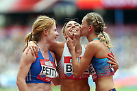 Angela Petty Of New Zealand and Hedda Hynne of Norway and Alexandra Bell of Great Britain cafter ompeting in the womenís 800 metres during the Muller Anniversary Games at The London Stadium on 9th July 2017