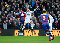 Crystal Palace's James McArthur battles with Burnley's Phillip Bardsley<br /> <br /> Photographer Ashley Crowden/CameraSport<br /> <br /> The Premier League - Crystal Palace v Burnley - Saturday 13th January 2018 - Selhurst Park - London<br /> <br /> World Copyright &copy; 2018 CameraSport. All rights reserved. 43 Linden Ave. Countesthorpe. Leicester. England. LE8 5PG - Tel: +44 (0) 116 277 4147 - admin@camerasport.com - www.camerasport.com
