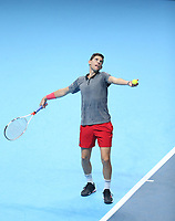 Dominic Thiem of Austria in action during his match against Kevin Anderson of South Africa<br /> <br /> Photographer Rob Newell/CameraSport<br /> <br /> International Tennis - Nitto ATP World Tour Finals Day 1 - O2 Arena - London - Sunday 11th November 2018<br /> <br /> World Copyright &copy; 2018 CameraSport. All rights reserved. 43 Linden Ave. Countesthorpe. Leicester. England. LE8 5PG - Tel: +44 (0) 116 277 4147 - admin@camerasport.com - www.camerasport.com