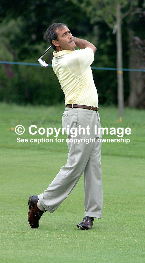 Sevy Ballesteros, professional golfer, Spain. Ref: 2001062423. Taken at Murphy's Irish Open Golf event at Fota Island between 26 and 28 June 2001.<br /> <br /> Copyright Image from Victor Patterson, 54 Dorchester Park, <br /> Belfast, UK, BT9 6RJ<br /> <br /> t1: +44 28 9066 1296 (from Rep of Ireland 048 9066 1296)<br /> t2: +44 28 9002 2446 (from Rep of Ireland 048 9002 2446)<br /> m: +44 7802 353836<br /> <br /> e1: victorpatterson@me.com<br /> e2: victorpatterson@gmail.com<br /> <br /> www.victorpatterson.com<br /> <br /> Please see my Terms and Conditions of Use at www.victorpatterson.com. It is IMPORTANT that you familiarise yourself with them.<br /> <br /> Images used on the Internet must be visibly watermarked i.e. &copy; Victor Patterson within the body of the image and copyright metadata must not be deleted. Images used on the Internet have a size restriction of 4kbs and will be chargeable at current NUJ rates unless agreed otherwise.<br /> <br /> This image is only available for the use of the download recipient i.e. television station, newspaper, magazine, book publisher, etc, and must not be passed on to any third party. It is also downloaded on condition that each and every usage is notified within 7 days to victorpatterson@me.com<br /> <br /> The right of Victor Patterson to be identified as the author is asserted in accordance with The Copyright Designs And Patents Act (1988).