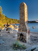 Historic chimney at Chimney Beach. Lake Tahoe, Nevada
