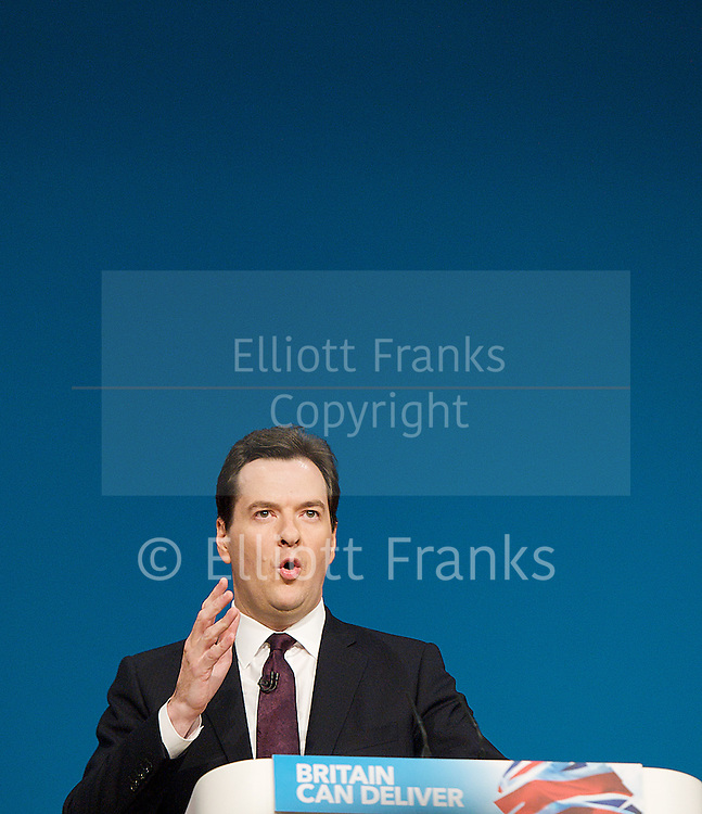 Conservative Party Conference, ICC, Birmingham, Great Britain <br /> Day 2<br /> 8th October 2012 <br /> <br /> Rt Hon George Osborne MP <br /> <br /> Chancellor of the Exchequer keynote speech <br /> <br /> <br /> Photograph by Elliott Franks<br /> <br /> <br /> Tel 07802 537 220 <br /> elliott@elliottfranks.com<br /> <br /> &copy;2012 Elliott Franks<br /> Agency space rates apply