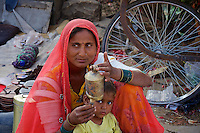 """In tne streets of Jaisalmer, the """"Golden City,"""" is located on the westernmost frontier of India in the state of Rajasthan."""