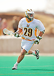 19 March 2011: University of Vermont Catamount Midfielder Luke Ryder, a Sophomore from Worcester, MA, in action against the St. John's University Red Storm at Moulton Winder Field in Burlington, Vermont. The Catamounts defeated the visiting Red Storm 14-9. Mandatory Credit: Ed Wolfstein Photo