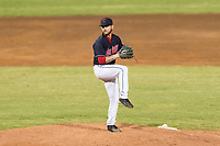 AZL Indians 1 relief pitcher Jake Miednik (64) delivers a pitch during an Arizona League playoff game against the AZL Rangers at Goodyear Ballpark on August 28, 2018 in Goodyear, Arizona. The AZL Rangers defeated the AZL Indians 1 7-4. (Zachary Lucy/Four Seam Images)