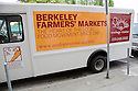 Berkeley Farmers' Market Sign on Side of Truck. Ecology Center's Berkeley Farmers' Market prides itself on being a 'Zero Waste Zone' and prohibiting genetically modified foods. Berkeley, California, USA