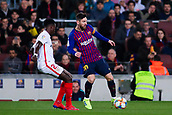 30th January 2019, Camp Nou, Barcelona, Spain; Copa del Rey football, quarter final, second leg, Barcelona versus Sevilla; Lionel Messi of FC Barcelona takes on Promes of Sevilla CF