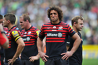 Jacques Burger looks dejected after the match. Aviva Premiership Final, between Saracens and Northampton Saints on May 31, 2014 at Twickenham Stadium in London, England. Photo by: Patrick Khachfe / JMP