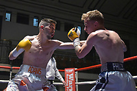 Lewis Adams (white shorts) defeats Jules Phillips during a Boxing Show at York Hall on 30th June 2018