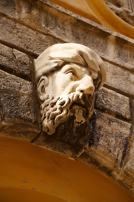 Moorish head over the gate of The old citadel [ ?????? ??????? ] Corfu City, Greek Ionian Islands