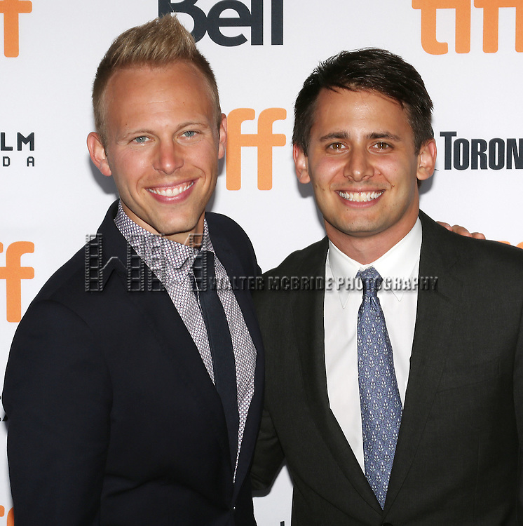 Benj Pasek and Justin Paul attends the 'La La Land' Premiere during the 2016 Toronto International Film Festival at Princess of Wales Theatre on September 12, 2016 in Toronto, Canada.