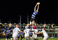 Luke Charteris of Bath Rugby wins the ball at a lineout. Aviva Premiership match, between Bath Rugby and Wasps on December 29, 2017 at the Recreation Ground in Bath, England. Photo by: Patrick Khachfe / Onside Images