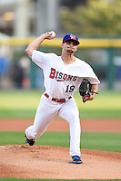 Buffalo Bisons pitcher Kendall Graveman (19) delivers a pitch during a game against the Pawtucket Red Sox on August 23, 2014 at Coca-Cola Field in Buffalo, New  York.  Buffalo defeated Pawtucket 15-2.  (Mike Janes/Four Seam Images)