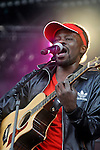FEFE / Samuel Adebiyi en concert au festival des Vieilles Charrues 2010 à Carhaix / 29 Finistère / Rég. Bretagne / The singer FEFE / Samuel Adebiyi  on stage at the Vieilles Charrues music festival of Carhaix in Brittany / France