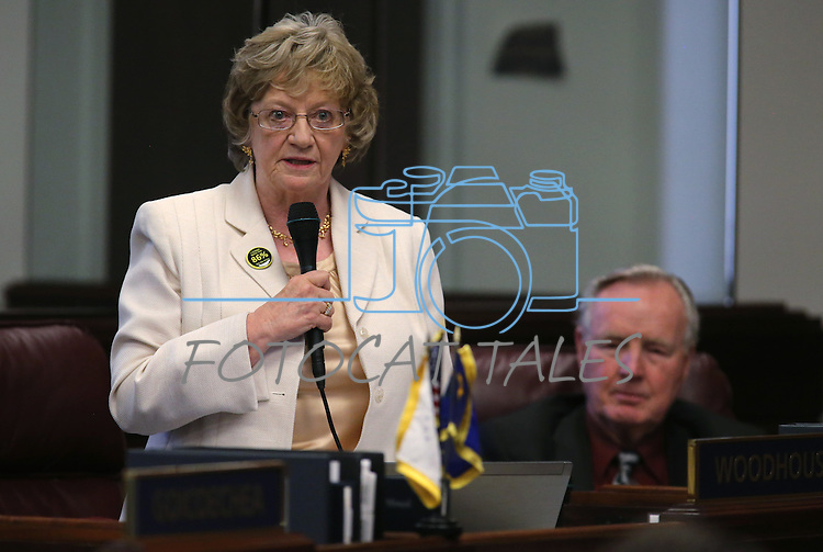 Nevada Sen. Joyce Woodhouse, D-Henderson, works on the Senate floor at the Legislative Building in Carson City, Nev., on Tuesday, May 21, 2013. .Photo by Cathleen Allison