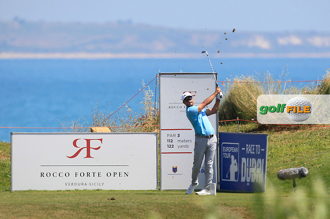 Trevor Immelman (RSA) on the 7th tee during Round 1 of The Rocco Forte Open  at Verdura Golf Club on Thursday 18th May 2017.<br /> Photo: Golffile / Thos Caffrey.<br /> <br /> All photo usage must carry mandatory copyright credit     (&copy; Golffile | Thos Caffrey)