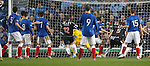 Elgin's Jamie Duff puts the ball past Neil Alexander to equalise for Rangers as Dennis Wyness runs in
