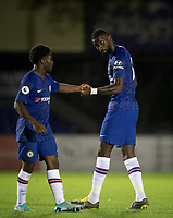 Antonio Rüdiger & Tariq Lamptey of Chelsea during the Premier League 2 match between Chelsea U23 and Tottenham Hotspur U23 at the Electrical Services Stadium, Aldershot, England on 30 August 2019. Photo by Andy Rowland.