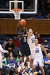 02 January 2014: ODU's Galaisha Goodhope (5) shoots over Duke's Haley Peters (33). The Duke University Blue Devils played the Old Dominion University Lady Monarchs in an NCAA Division I women's basketball game at Cameron Indoor Stadium in Durham, North Carolina. Duke won the game 87-63.