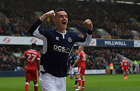 Shaun Williams of Millwall celebrates after scoring the opening goal during the Sky Bet Championship match between Millwall and Nottingham Forest at The Den, London, England on 30 March 2018. Photo by Alan  Stanford / PRiME Media Images.