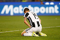Calcio, Serie A: Roma vs Juventus. Roma, stadio Olimpico, 14 maggio 2017. <br /> Juventus&rsquo; Leonardo Bonucci reacts during the Italian Serie A football match between Roma and Juventus at Rome's Olympic stadium, 14 May 2017. Roma won 3-1.<br /> UPDATE IMAGES PRESS/Riccardo De Luca