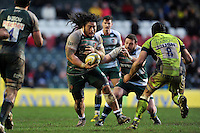 Logovi'i Mulipola of Leicester Tigers in possession. Aviva Premiership match, between Leicester Tigers and Sale Sharks on February 6, 2016 at Welford Road in Leicester, England. Photo by: Patrick Khachfe / JMP