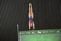 Great Britain's Lois Toulson compete in the women's 10m platform semifinal B<br /> <br /> Photographer Hannah Fountain/CameraSport<br /> <br /> FINA/CNSG Diving World Series 2019 - Day 2 - Saturday 18th May 2019 - London Aquatics Centre - Queen Elizabeth Olympic Park - London<br /> <br /> World Copyright © 2019 CameraSport. All rights reserved. 43 Linden Ave. Countesthorpe. Leicester. England. LE8 5PG - Tel: +44 (0) 116 277 4147 - admin@camerasport.com - www.camerasport.com