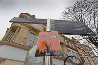 Pictured: A game placard tied to a post in Newport city centre, Wales, UK. Thursday 14 February 209<br /> Re: The city of Newport is preparing to host the FA Cup match between Newport County and Manchester City at Rodney Parade, Newport, Wales, UK.