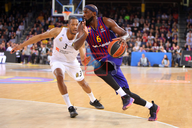 Turkish Airlines Euroleague 2018/2019. <br /> Regular Season-Round 24.<br /> FC Barcelona Lassa vs R. Madrid: 77-70. <br /> Anthony Randolph vs Chris Singleton.