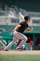 GCL Orioles third baseman Jared Gates (18) follows through on a swing during a game against the GCL Red Sox on August 9, 2018 at JetBlue Park in Fort Myers, Florida.  GCL Red Sox defeated GCL Orioles 10-4.  (Mike Janes/Four Seam Images)