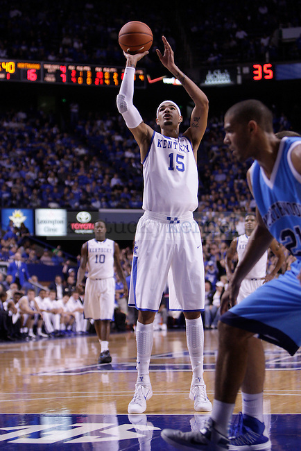 Freshman Forward Willie Cauley-Stein shoots a free-throw during the first half of the University of Kentucky vs. Northwood Basketball exhibition game at Rupp Arean in Lexington, Ky., on, {November} {1}, {2012}. Photo by Jared Glover | Staff