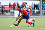 Mannheim, Germany, April 18: During the 1. Bundesliga Damen match between TSV Mannheim (white) and Mannheimer HC (red) on April 18, 2015 at TSV Mannheim in Mannheim, Germany. Final score 1-7 (1-4). (Photo by Dirk Markgraf / www.265-images.com) *** Local caption *** Nikki Kidd #26 of Mannheimer HC, Anna-Lena Hartwig #21 of TSV Mannheim