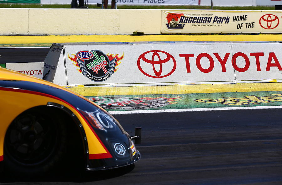 June 1, 2014; Englishtown, NJ, USA; Detailed view of a Toyota logo as NHRA funny car driver Del Worsham stages his car during the Summernationals at Raceway Park. Mandatory Credit: Mark J. Rebilas-
