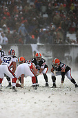 December 16th, 2007:  Cleveland Browns quarterback Derek Anderson (3) calls the signals as offensive lineman Eric Steinbach (65) gets ready at Cleveland Browns Stadium in Cleveland, Ohio.  The Browns shutout the Bills 8-0 to inch closer to clinching a playoff spot.  Photo copyright Mike Janes Photography 2007.