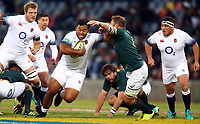 Billy Vunipola of England hands off Duane Vermeulen of South Africa during the 2018 Castle Lager Incoming Series 2nd Test match between South Africa and England at the Toyota Stadium.Bloemfontein,South Africa. 16,06,2018 Photo by Steve Haag / stevehaagsports.com