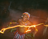 """Aman Lau Lau performing """"turuk laggai"""", the Mentawai traditional dance. The Mentawai are the tribes living traditionally in the island of Siberut, Indonesia. Here, where the changes came slow, some of the people are still living like their ancestors did centuries ago. They s till practice ancient religion called Arat Sabulungan, which believe that everything in the forest has a spirit."""