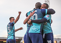 Will De Havilland of Wycombe Wanderers salutes the support after the final whistle during the Sky Bet League 2 match between Grimsby Town and Wycombe Wanderers at Blundell Park, Cleethorpes, England on 4 March 2017. Photo by Andy Rowland / PRiME Media Images.