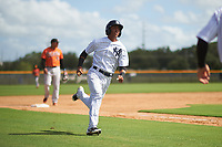 New York Yankees Oswald Peraza (5) runs home during an Instructional League game against the Baltimore Orioles on September 23, 2017 at the Yankees Minor League Complex in Tampa, Florida.  (Mike Janes/Four Seam Images)
