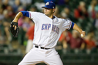 Round Rock Express pitcher Zach Phillips delivers against the Omaha Storm Chasers in Pacific Coast League baseball on Monday April 11th, 2011 at Dell Diamond in Round Rock Texas.  (Photo by Andrew Woolley / Four Seam Images)