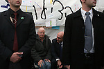 Knesset member Shaul Mofaz visits the protest tent for captive soldier Gilad Schalit outside the Israeli Prime Ministers house on March 15, 2009. Prime Minister Olmert said they will decide on a deal to free schalit by Monday. .Photo: Maya Levin/ Jini